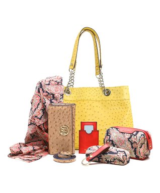 emilie m. Denim Blue Ostrich Nicole Shoulder Bag & Essentials Kit