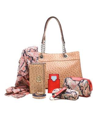 emilie m. Mustard Ostrich Nicole Shoulder Bag & Essentials