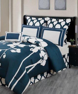 Cobalt April Orchidea Reversible Overfilled Comforter Set