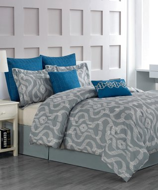 Blue Keasby Overfilled Comforter Set
