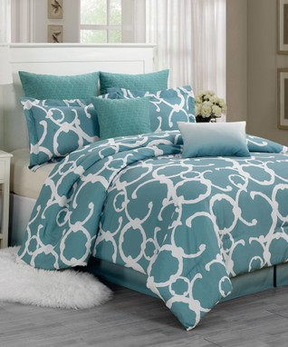 Dusty Blue Rhys Hotel Quilted Overfilled Comforter Set
