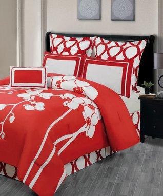 Purple Orchidea Reversible Overfilled Comforter Set