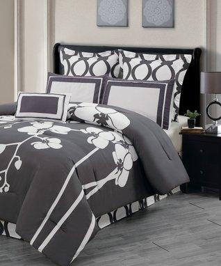 Slate Gray Orchidea Reversible Overfilled Comforter Set