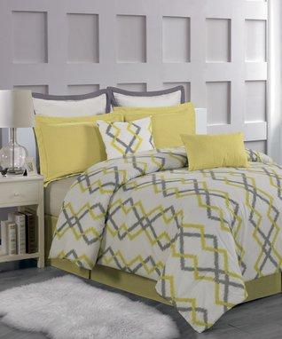 Yellow Stripe Delia Anchor Comforter Set