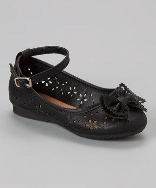 Black Cutout T-Strap Wedge Sandal