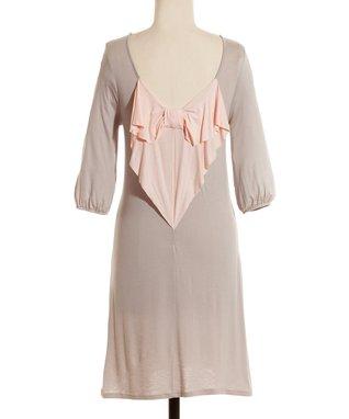 Taupe & Peach Bow Dress