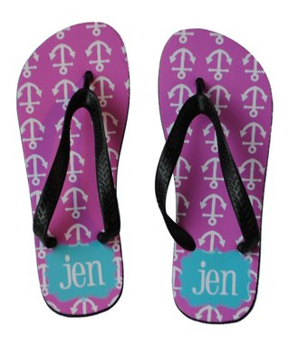 Orchid Anchor Personalized Flip-Flop