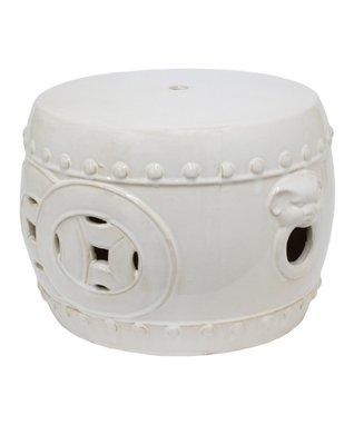 White Short Ceramic Garden Stool