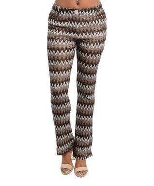 Brown Zigzag Bootcut Pants