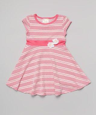 Pink & White Polka Dot Stripe Dress - Toddler & Girls