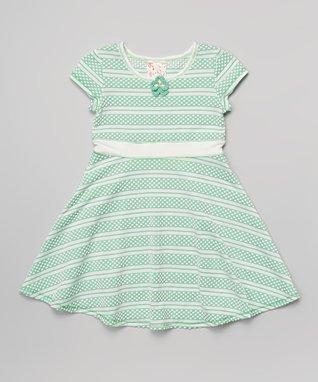 Mint & White Polka Dot Stripe Dress - Toddler & Girls