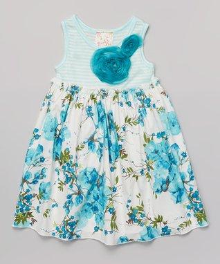 Turquoise Floral Babydoll Dress - Toddler & Girls