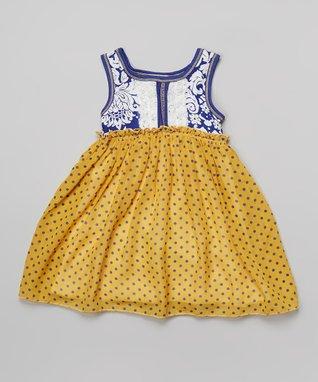 Navy & Teal Daisy Dress - Girls