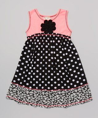 Pink & Black Polka Dot Babydoll Dress - Toddler & Girls