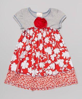 Red & Gray Floral Babydoll Dress - Toddler & Girls