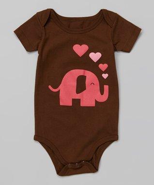 Doodle Pants Brown & Pink Elephant Bodysuit - Infant