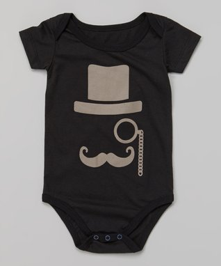 Doodle Pants Black & Gray Mustache & Monocle Bodysuit - Infant