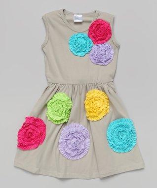 Gray Rosette Sleeveless Dress - Toddler & Girls