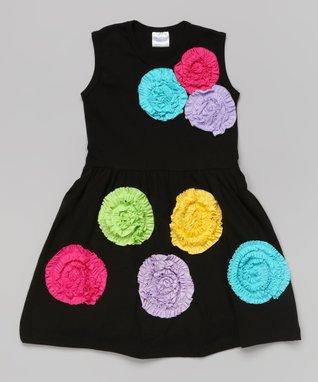 Black Rosette Sleeveless Dress - Toddler & Girls
