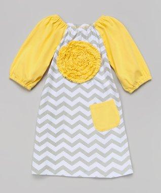 Yellow & Gray Zigzag Rosette Dress - Toddler & Girls