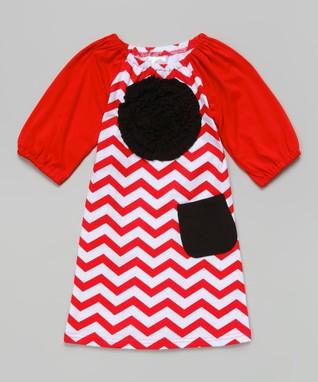 Navy Zigzag Ruffle Bubble Dress - Toddler & Girls