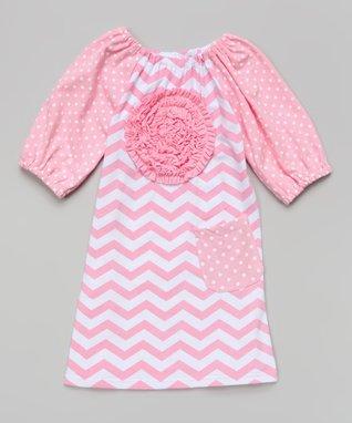 Pink & White Zigzag Rosette Dress - Toddler & Girls