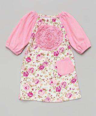Red & Black Zigzag Rosette Dress - Toddler & Girls