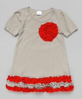 Pink & White Floral Rosette Dress - Toddler & Girls