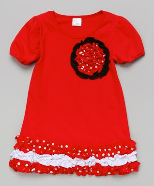 Hot Pink & White Zigzag Rosette Dress - Toddler & Girls