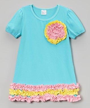 Blue & Pink Ruffle Rosette Dress - Toddler & Girls
