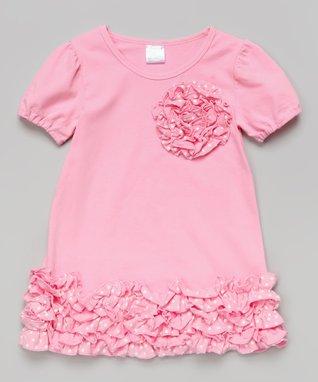 Gray & Red Ruffle Rosette Dress - Toddler & Girls