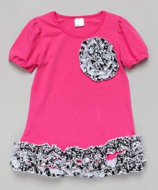 Red & White Ruffle Rosette Dress - Toddler & Girls