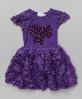 Purple Rosette Bow Angel-Sleeve Dress - Toddler & Girls