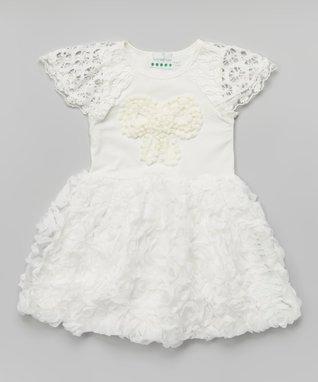 Purple & White Zigzag Ruffle Rosette Dress - Toddler & Girls