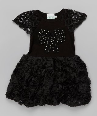 Pink Polka Dot Ruffle Rosette Dress - Toddler & Girls