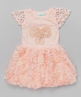 Peach Rosette Bow A-Line Dress - Toddler & Girls