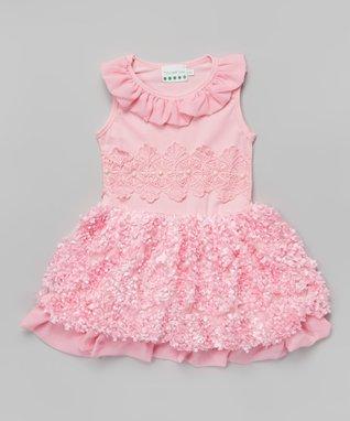 Pink Rosette Pearl Ruffle Yoke Dress - Toddler & Girls