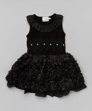 Black Rosette Bow Angel-Sleeve Dress - Toddler & Girls