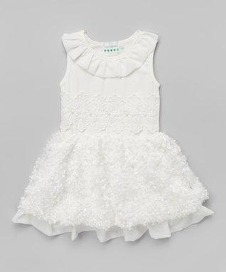Navy Polka Dot Ruffle Bubble Dress - Toddler & Girls
