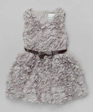 Gray Rosette Bow Dress - Toddler & Girls