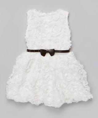 White & Black Rosette Bow Dress - Toddler & Girls