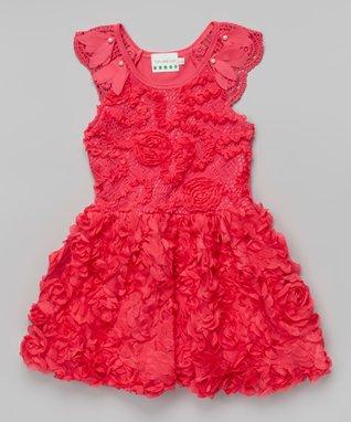 Gray Rosette Bow Angel-Sleeve Dress - Toddler & Girls