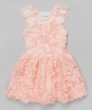 Peach Rosette Bow Dress - Toddler & Girls
