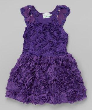 Red Rosette Pearl Ruffle Yoke Dress - Toddler & Girls