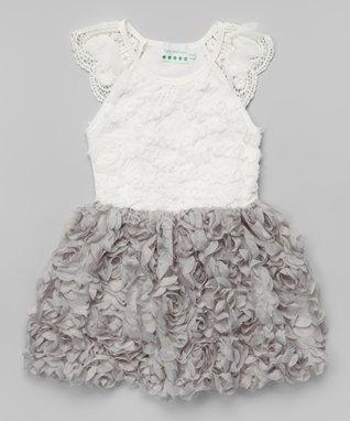 White & Gray Rosette Lace Angel-Sleeve Dress- Toddler & Girls