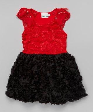 Hot Pink & Black Damask Rosette Dress - Toddler & Girls