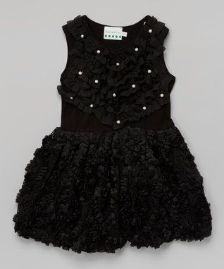 Hot Pink & Black Polka Dot Rosette Dress - Toddler & Girls
