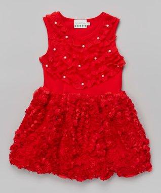 White Rosette Bow Angel-Sleeve Dress - Toddler & Girls