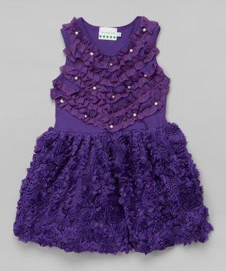 Red Rosette Pearl A-Line Dress - Toddler & Girls