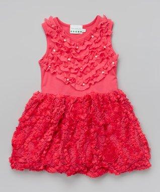 Black Rosette Pearl Ruffle Yoke Dress - Toddler & Girls